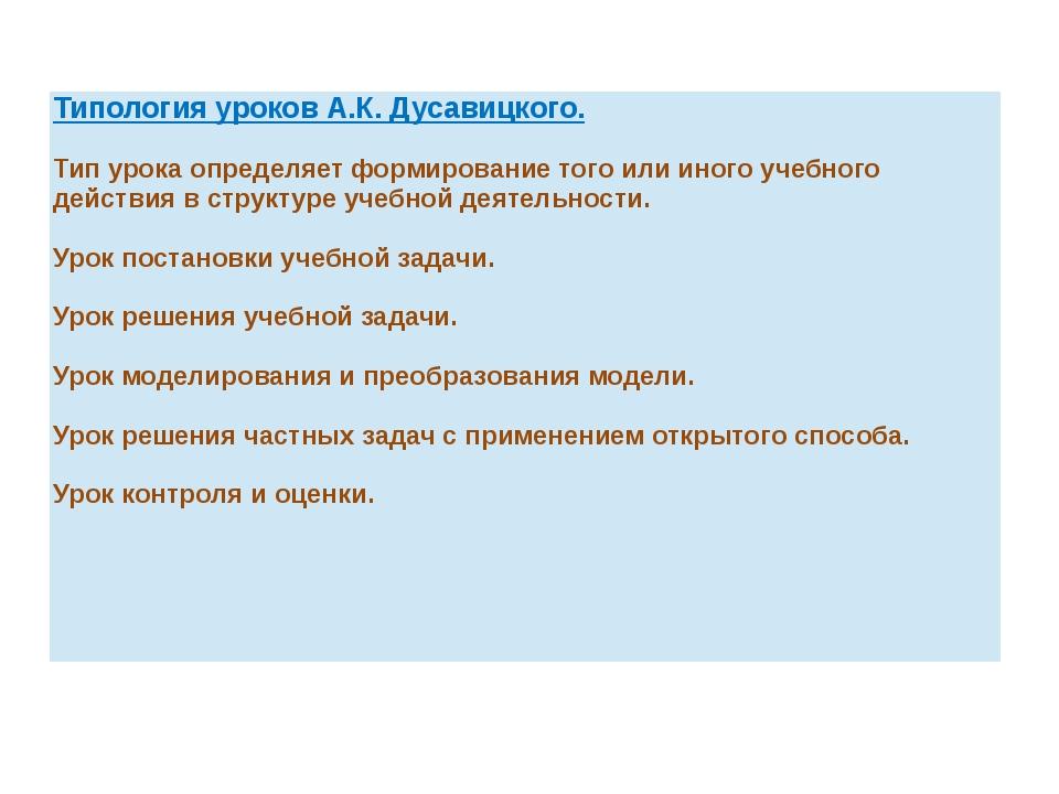 Типология уроков А.К.Дусавицкого. Тип урока определяет формирование того или...