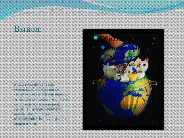 Вывод: Масштабы воздействия человека на окружающую среду огромны. Интенсивном...