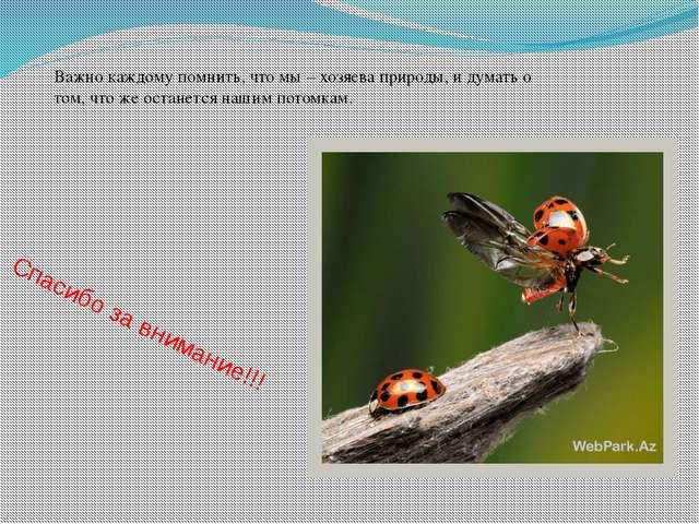 Спасибо за внимание!!! Важно каждому помнить, что мы – хозяева природы, и дум...