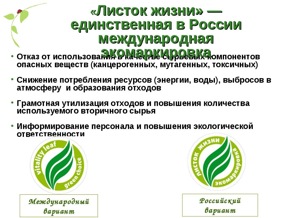 Отказ от использования в качестве сырьевых компонентов опасных веществ (канце...