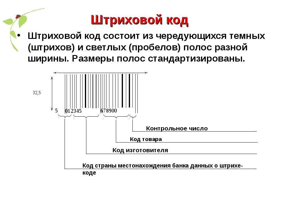 Штриховой код Штриховой код состоит из чередующихся темных (штрихов) и светлы...
