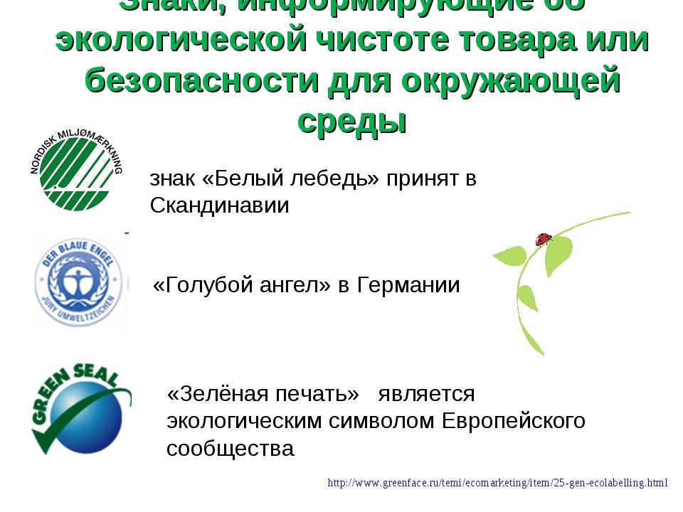 Знаки, информирующие об экологической чистоте товара или безопасности для окр...