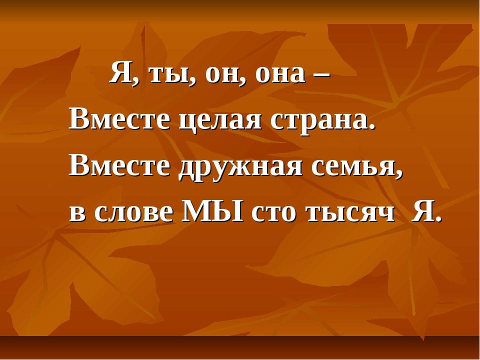 Я, ты, он, она – Вместе целая страна. Вместе дружная семья, в слове МЫ сто т...