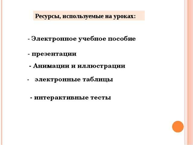 Ресурсы, используемые на уроках: - Электронное учебное пособие - презентации...