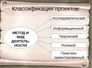 Классификация проектов: МЕТОД И ВИД ДЕЯТЕЛЬ-НОСТИ Исследовательский Информаци