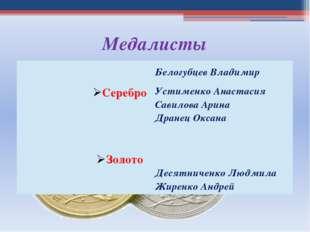 Медалисты Серебро БелогубцевВладимир Устименко Анастасия Савилова Арина Дране