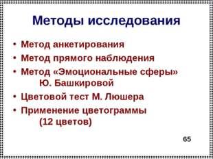 Методы исследования Метод анкетирования Метод прямого наблюдения Метод «Эмоци