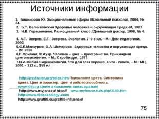 Источники информации 1. Башкирова Ю. Эмоциональные сферы //Школьный психолог,