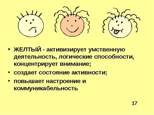 ЖЕЛТЫЙ - активизирует умственную деятельность, логические способности, концен...