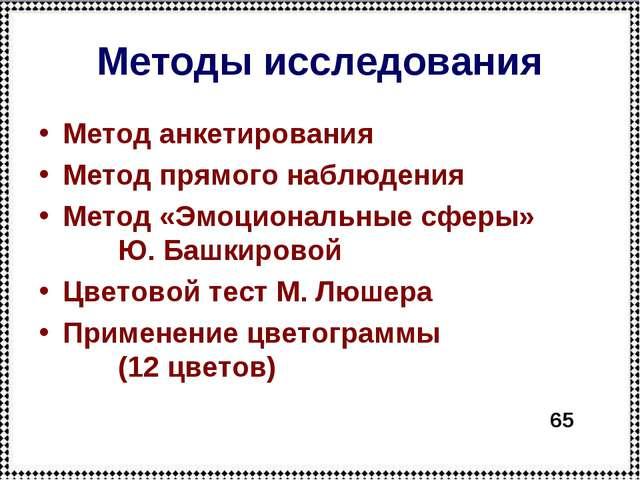 Методы исследования Метод анкетирования Метод прямого наблюдения Метод «Эмоци...