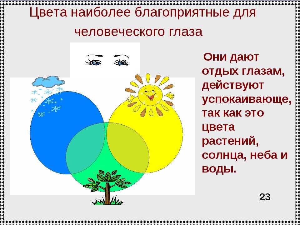 Цвета наиболее благоприятные для человеческого глаза Они дают отдых глазам, д...