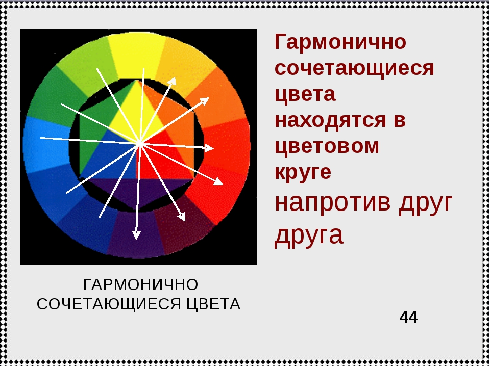Гармонично сочетающиеся цвета находятся в цветовом круге напротив друг друга...