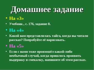 Домашнее задание На «3» Учебник , с. 176, задание 8. На «4» Какой вам предста
