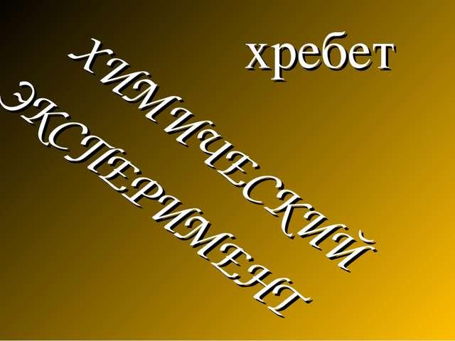 хребет ХИМИЧЕСКИЙ ЭКСПЕРИМЕНТ