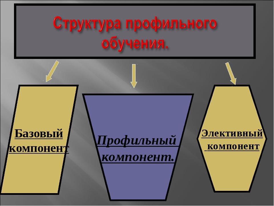 Базовый компонент Элективный компонент Профильный компонент.