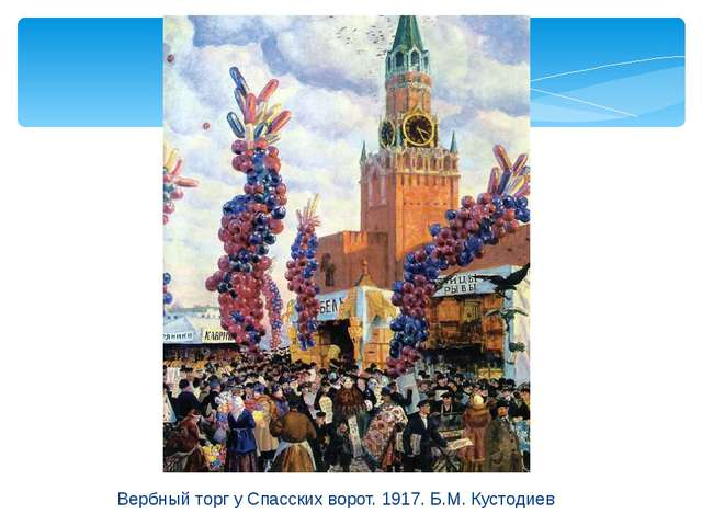 Вербный торг у Спасских ворот. 1917. Б.М. Кустодиев