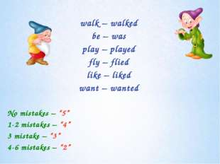 walk – walked be – was play – played fly – flied like – liked want – wanted