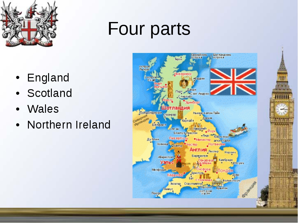 Four parts England Scotland Wales Northern Ireland
