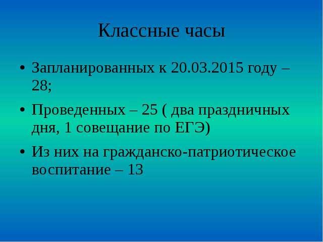 Классные часы Запланированных к 20.03.2015 году – 28; Проведенных – 25 ( два...