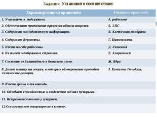 Задание. Установите соответствие: Характеристика органоида Название органоида