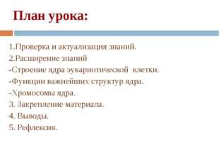 План урока: 1.Проверка и актуализация знаний. 2.Расширение знаний -Строение я