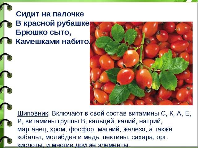 Шиповник. Включают в свой состав витамины С, К, А, Е, Р, витамины группы В, к...