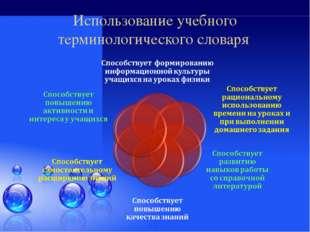 Использование учебного терминологического словаря