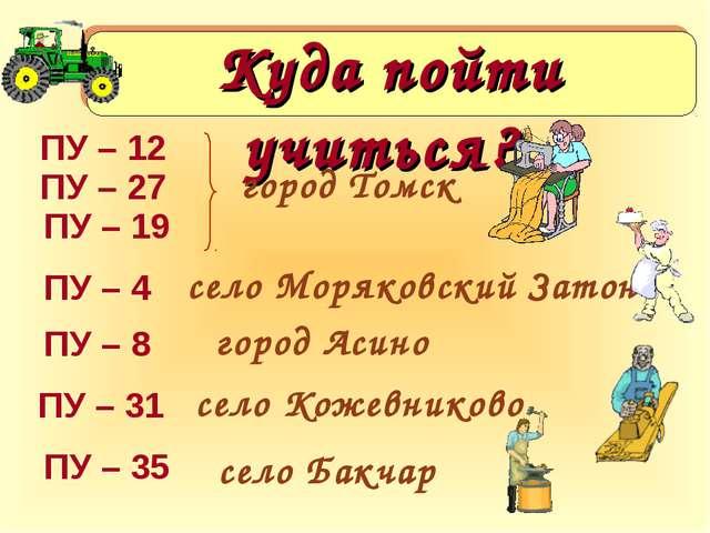 Куда пойти учиться? город Томск ПУ – 4 село Моряковский Затон ПУ – 8 город Ас...