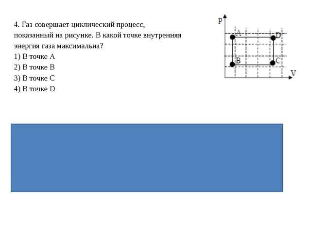 4. Газ совершает циклический процесс, показанный на рисунке. В какой точке вн...