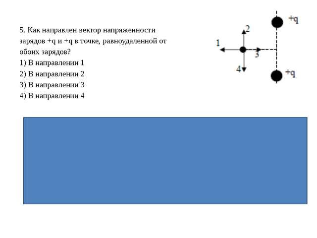 5. Как направлен вектор напряженности зарядов +q и +q в точке, равноудаленной...