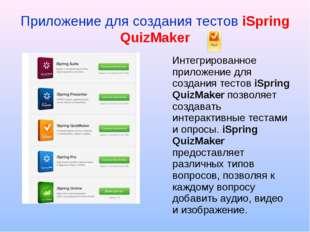 Приложение для создания тестов iSpring QuizMaker Интегрированное приложение д