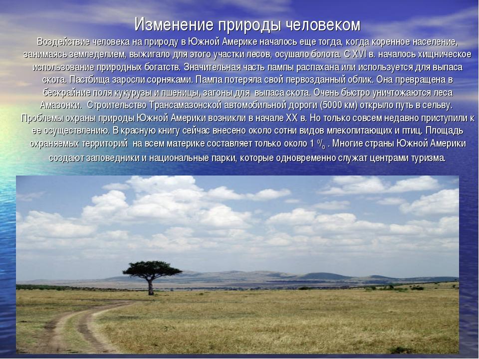 Изменение природы человеком Воздействие человека на природу в Южной Америке н...