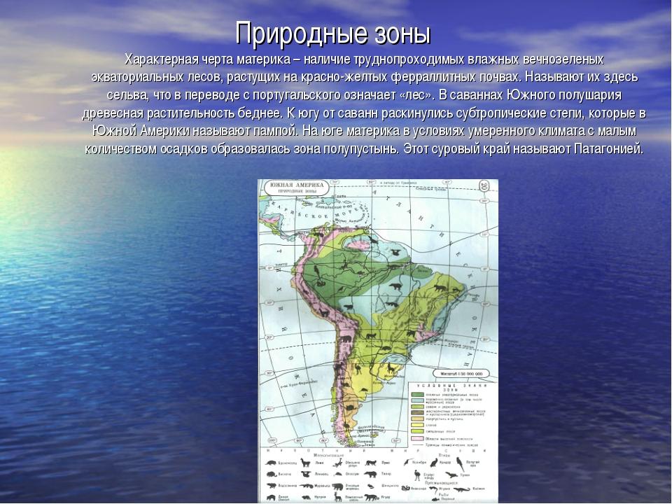 Природные зоны Характерная черта материка – наличие труднопроходимых влажных...