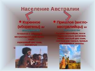Население Австралии Коренное (аборигены) их меньшинство Относятся к негроидн
