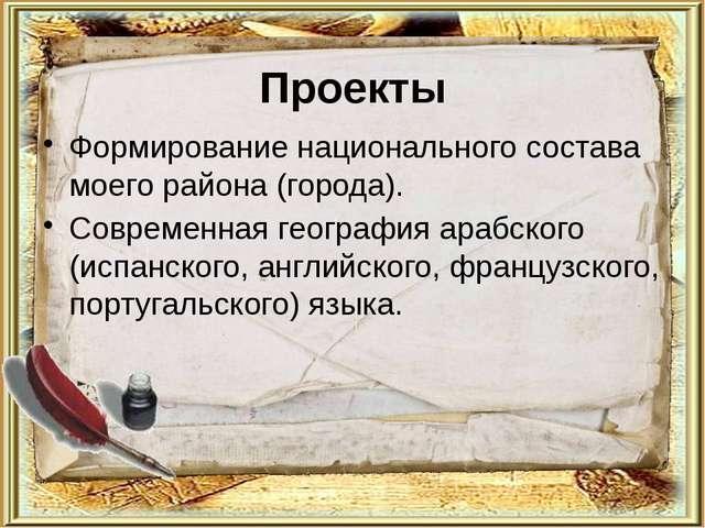 Проекты Формирование национального состава моего района (города). Современная...