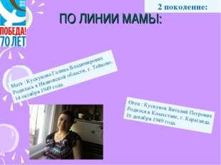 Мать : Кускунова Галина Владимировна Родилась в Ивановской области, г. Тейков