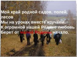 Мой край родной садов, полей, лесов Мы на уроках вместе изучаем. К огромной н