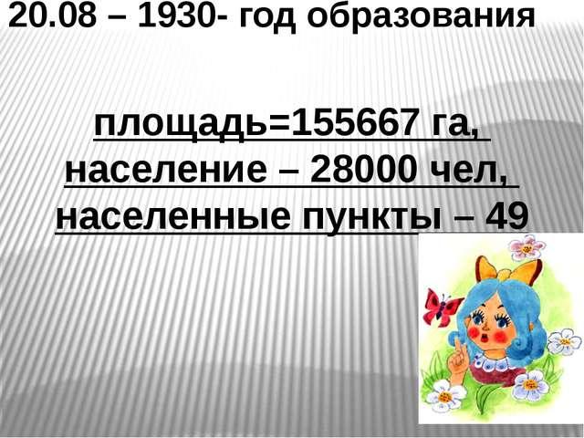 20.08 – 1930- год образования площадь=155667 га, население – 28000 чел, насел...