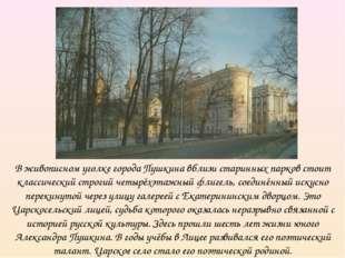 В живописном уголке города Пушкина вблизи старинных парков стоит классический