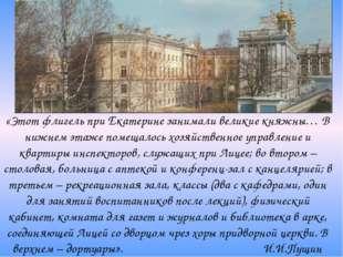 «Этот флигель при Екатерине занимали великие княжны… В нижнем этаже помещалос