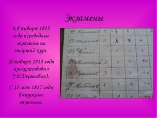 Экзамены 4,8 января 1815 года переводные экзамены на старший курс (8 января 1