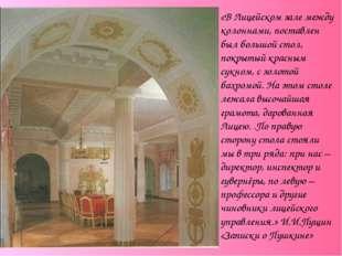 «В Лицейском зале между колоннами, поставлен был большой стол, покрытый красн
