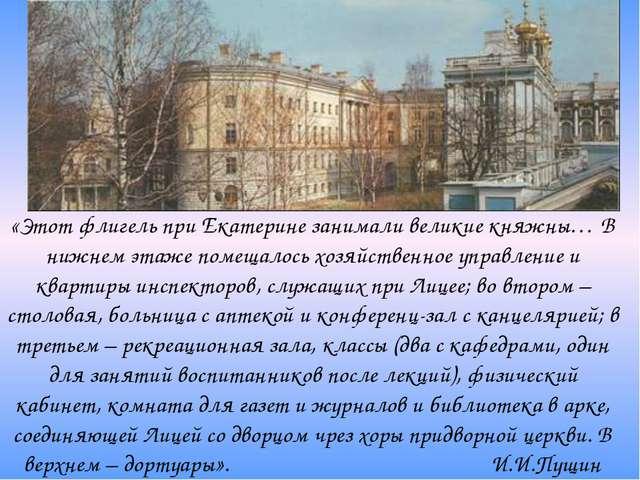«Этот флигель при Екатерине занимали великие княжны… В нижнем этаже помещалос...