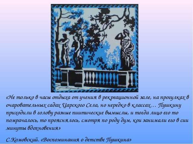 «Не только в часы отдыха от учения в рекреационной зале, на прогулках в очаро...