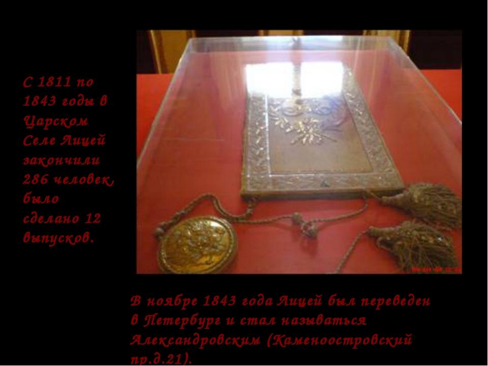 С 1811 по 1843 годы в Царском Селе Лицей закончили 286 человек, было сделано...