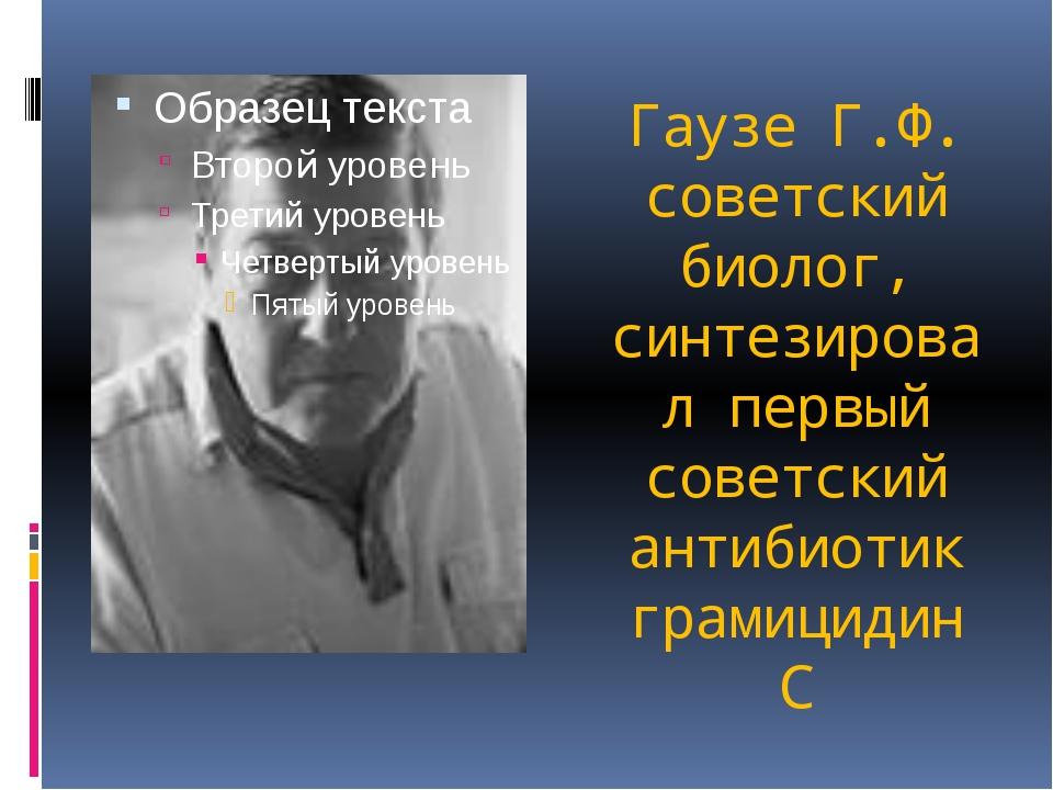 Гаузе Г.Ф. советский биолог, синтезировал первый советский антибиотик грамици...