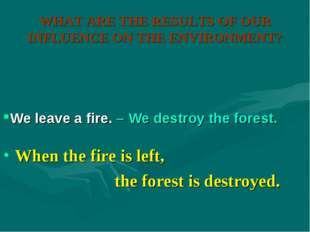 WHAT ARE THE RESULTS OF OUR INFLUENCE ON THE ENVIRONMENT? When the fire is le