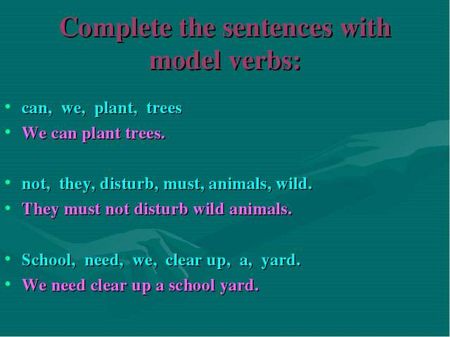 Complete the sentences with model verbs: can, we, plant, trees We can plant t...