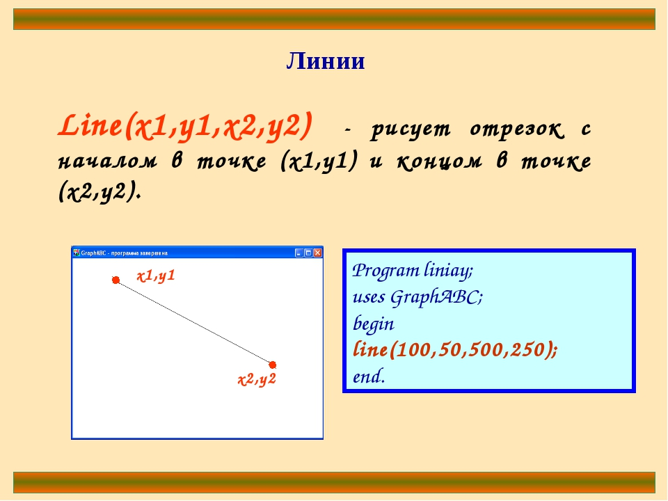Line(x1,y1,x2,y2) - рисует отрезок с началом в точке (x1,y1) и концом в точке...