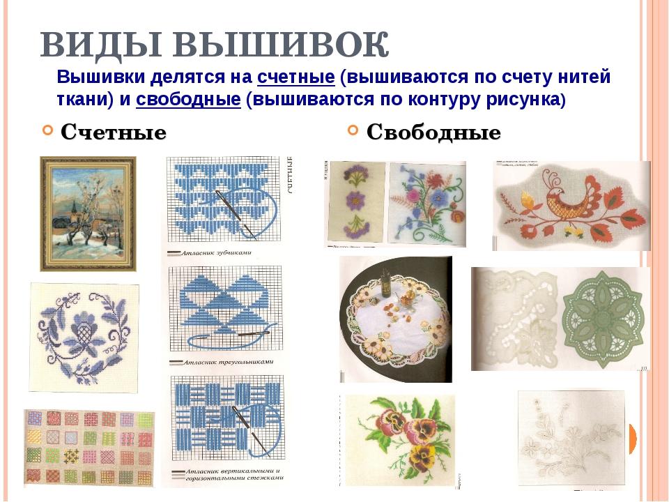 Виды вышивания в картинках